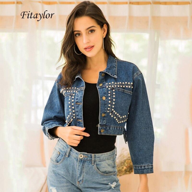 Fitaylor Spring Women Vintage Denim Short Jacket Turndown Collar Single Breasted Rivet Streetwear Loose Punk  Jacket
