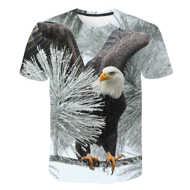 Verão 2021 novo! Popular 3d manga curta bonito eagle print men camiseta hip-hopfashion popular respirável camiseta oversize
