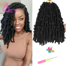 Hair-Extensions Braids Crochet Faux-Locs Pre-Looped Black Synthetic 12inch for Women
