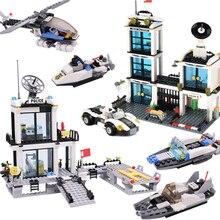 Полиции города строительные блоки автомобилей лодка вертолет кирпичи дети DIY строительство тюремный грузовик игрушки