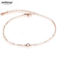 JeeMango – Bracelet de cheville en zircone cubique pour femmes, bijoux de pied, or Rose, chaîne de jambe, en acier inoxydable, JA19034