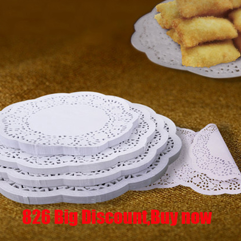 100pcs/lot Round Lace Paper Oil Absorbing Paper Cake Biscuit Decoration Bottom Paper Wedding Christmas Supplies X