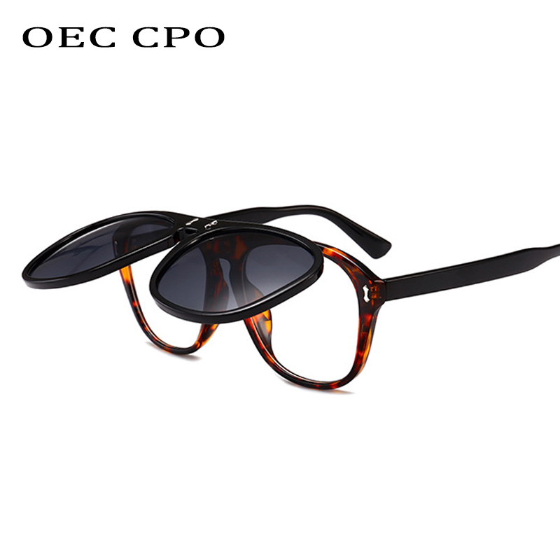 OEC CPO Oversized Square Sunglasses Women Personality Flip Up Grey Sunglasses Men Double Unisex Goggles Eyeglasses UV400 O215