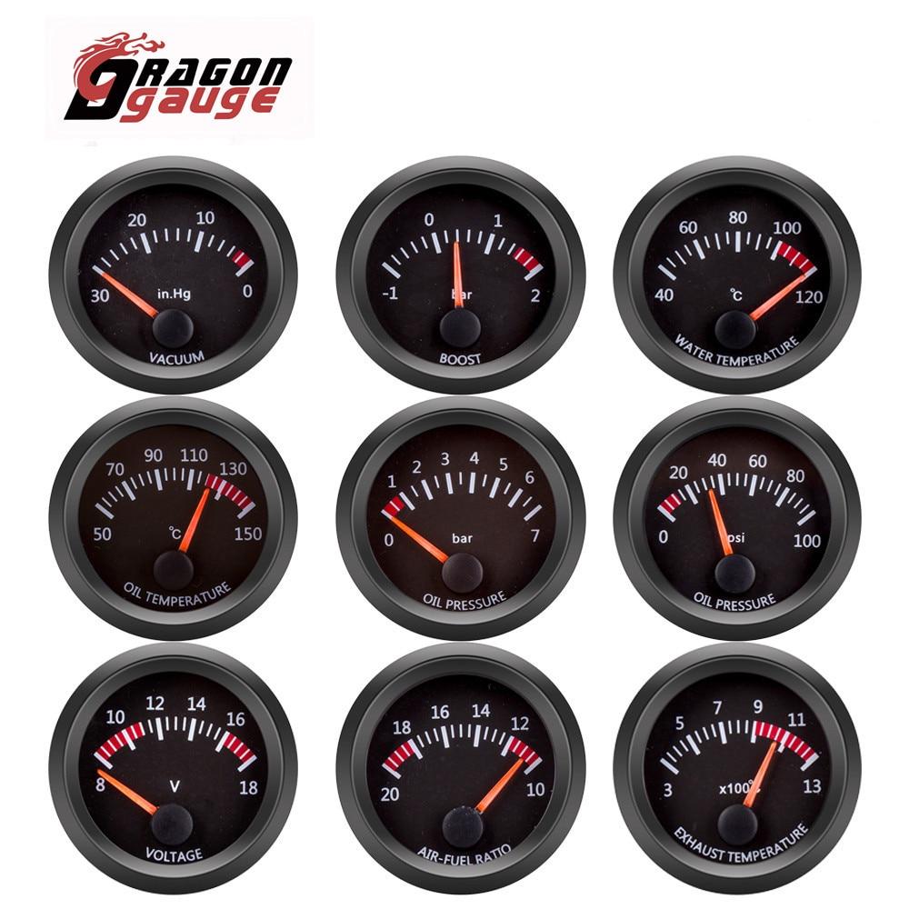 DRAGON GAUGE 52mm Water Temp/Oil Temp/Voltmeter/Oil Press/Vacuum/Boost Gauge/Air Fuel Ratio/EGT Gauge With Sensor for 12V Car