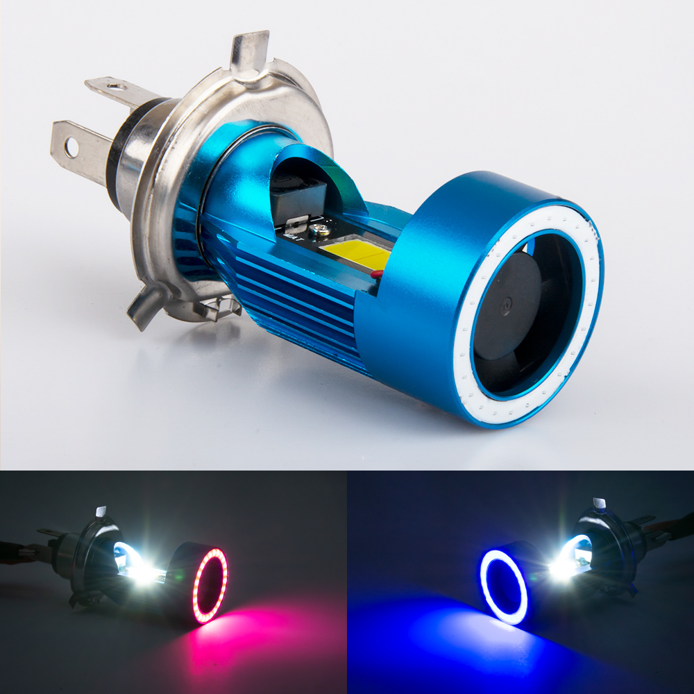 1pc <font><b>12</b></font>~<font><b>80V</b></font> BA20D <font><b>LED</b></font> H6 P15D HS1 H4 <font><b>Led</b></font> Motorcycle Headlight Bulbs Motorbike hi/lo Beam Headlamp with Angel eye Light image