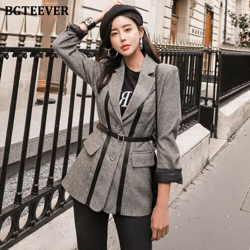 BGTEEVER Fashion PU Patchwork Women Blazer Vintage Sashes Female Suit Jacket Notched Collar Women Coat Femme Winter Outwear 2019