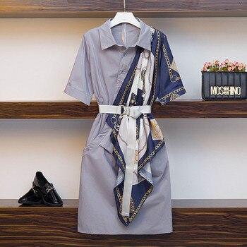 Nowy koreański lato elegancki wydruk sukienki kobiety koszula plus size fałszywe dwuczęściowy Patchwork z krótkim rękawem luźna koszula sukienka z paskiem