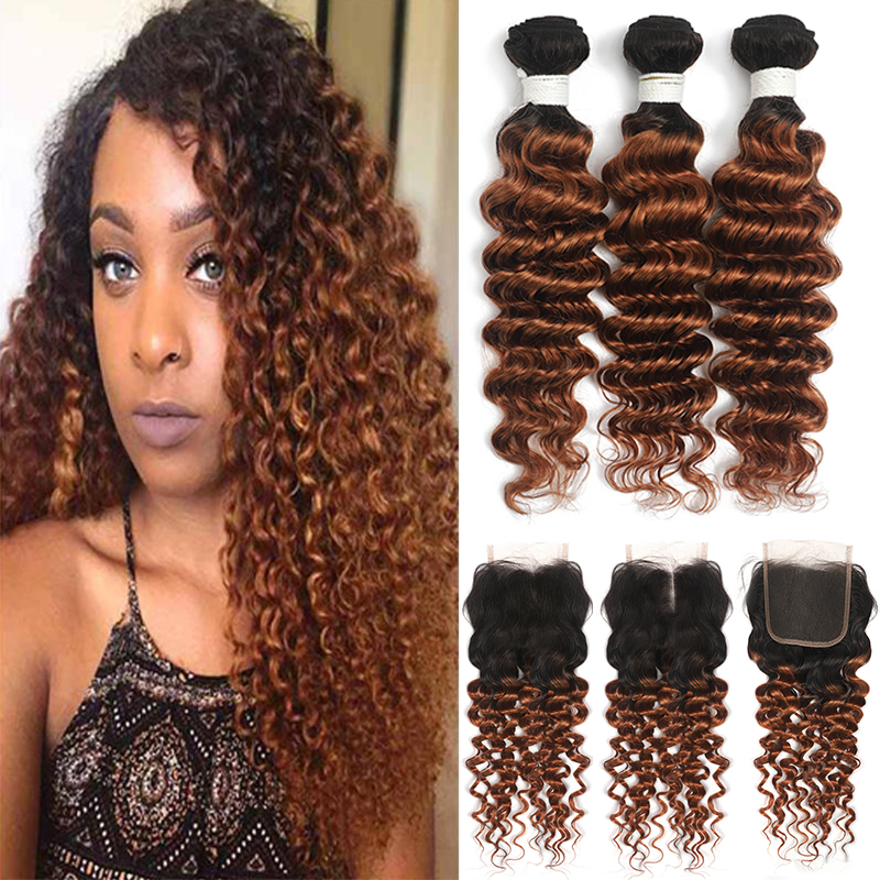 Deep Wave Human Hair Bundles With Closure T1B 30 Ombre Brown Hair Bundles With Closure 4x4 Two Tone Non-Remy Hair Extension