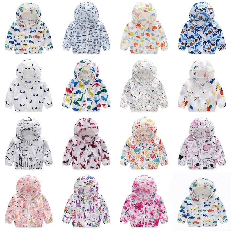 Baby Girls Boys Summer Beach Sun Protection Jacket Coat Cartoon Baby Boy Hooded Breathable Coats Kids Windbreaker Kids Clothing