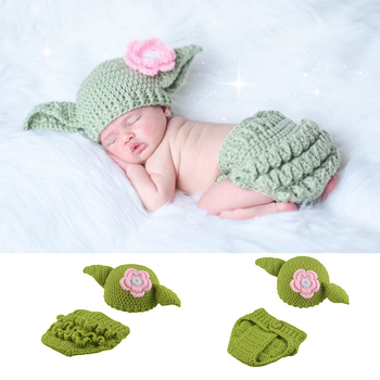 Baby Yoda Star Wars Costume Outfit Infant Newborn Bodysuit Photography Props Accessories Crochet Hat Clothes