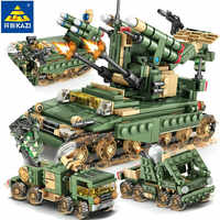 649Pcs Military Field Army Armored car Tank Heads Building Blocks Sets LegoINGs Figures Bricks Toys for Children Christmas Gifts