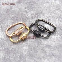 Розовое золото серебряный пистолет черный CZ Micro Pave Oval форма винтовая застежка замок карабин проложить замок 11x25 мм FC26932