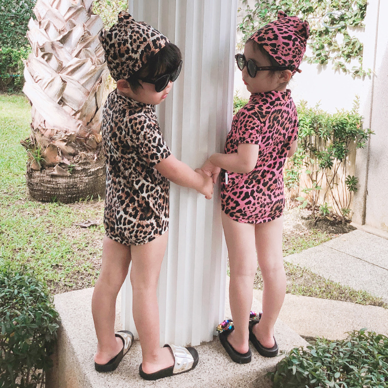 Spa Resort Men And Women Baby Cat Bathing Suit Children Cute Cartoon Leopord Pattern One-piece Swimwear With Cat Ears Swimming C