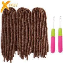 Коричневый цвет, прямые искусственные Локи, 20 дюймов, X-TRESS, вязанные крючком косички, Джамбо, страшная прическа, синтетические косички для наращивания волос, дреды