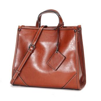 Vintage Real Natural Cow Genuine Leather Bolsa Feminina Luxury Ladies Handbags Women Bags Female Designer Shoulder For Big Bag