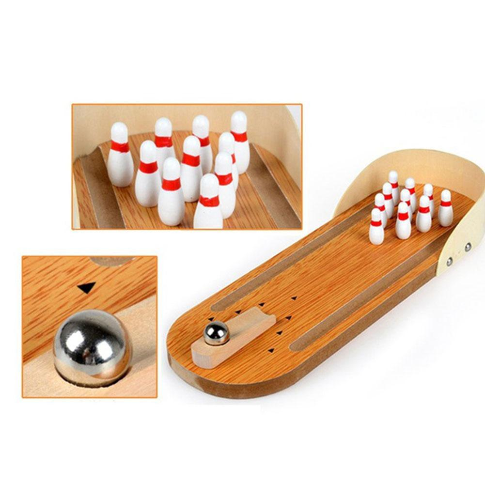 Lovely Kids Wooden Mini Bowling Table Top Hand Game Child Educational Toys Gift Develop Handson Improve Creatatity Imagination