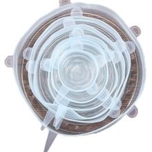 6 шт Силиконовые эластичные крышки свежие продукты обертывания чаша чашка горшок крышка Уплотнение многоразовые