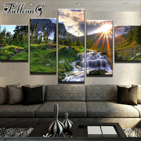FULLCANG 5 Piece Sunrise Forest Waterfall diamond painting rhinestone full square/round drill mosaic embroidery Landscape FC1935