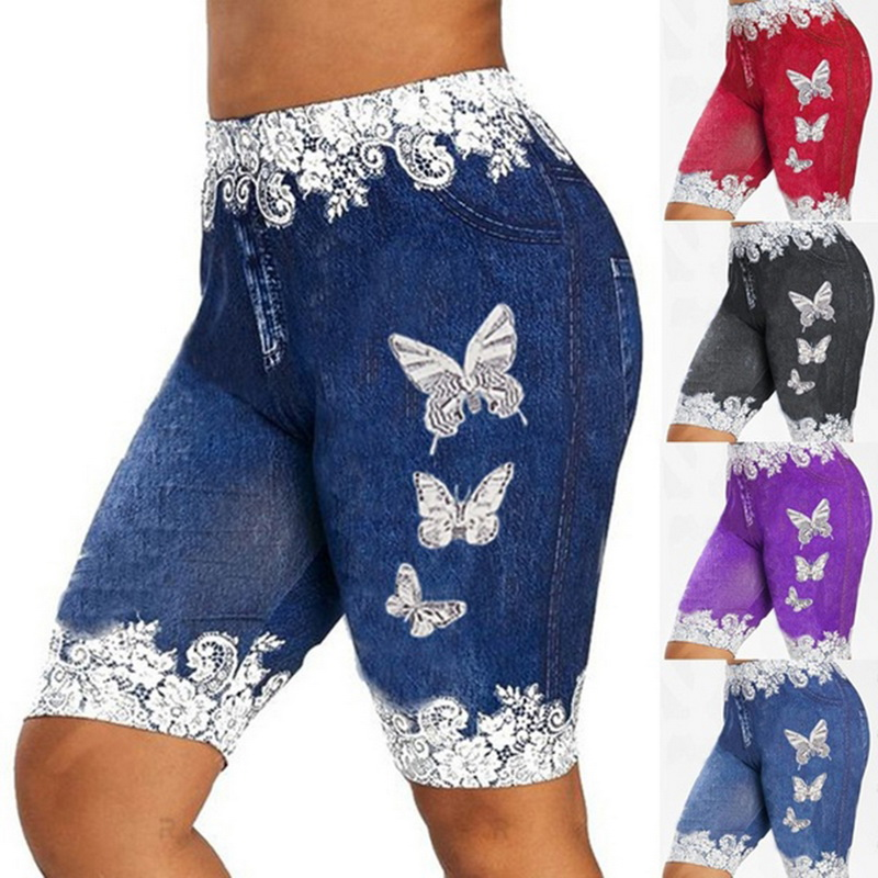 Faux Jeans Leggings Woman Stretch Printed Short Leggins 4\3 Capri Pants Summer Breeches High Waist Perfect Fit Jeans Jeggings