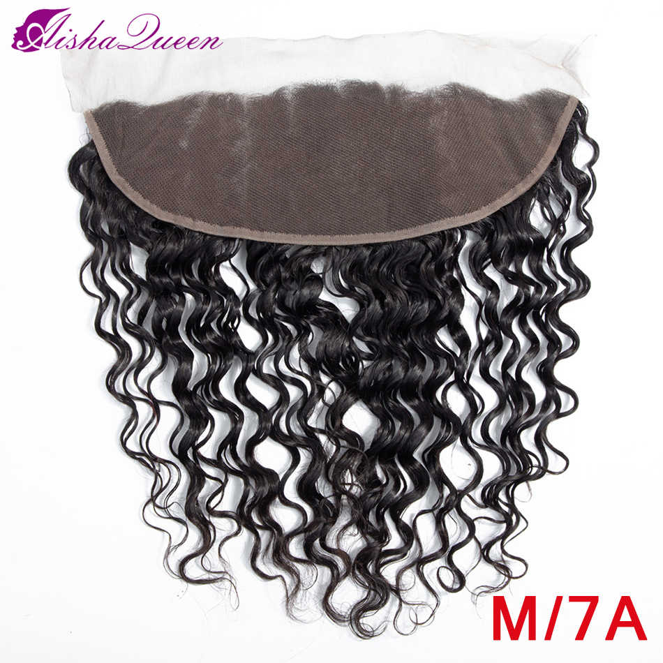 "Aisha Queen Brazilian Water Wave Lace Frontal Closure 13X4 Lace Frontal 8-20"" Medium Ratio Non Remy Human Hair Closure"