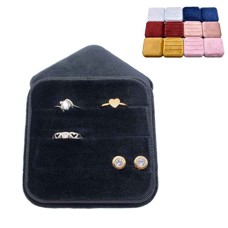 Velvet Ring Box Square Vintage Wedding Ceremony Ring Box with Detachable Lid Engagement Ring Box Holder Valentine's Day