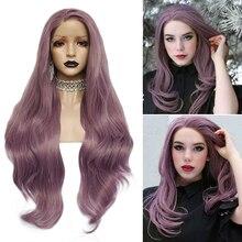 Anogol Lila Lange Natürliche Welle Hohe Temperatur Faser Haaransatz Haar Perücken Weiche Schweizer Synthetische Spitze Vorne Perücke für Weiße Frauen