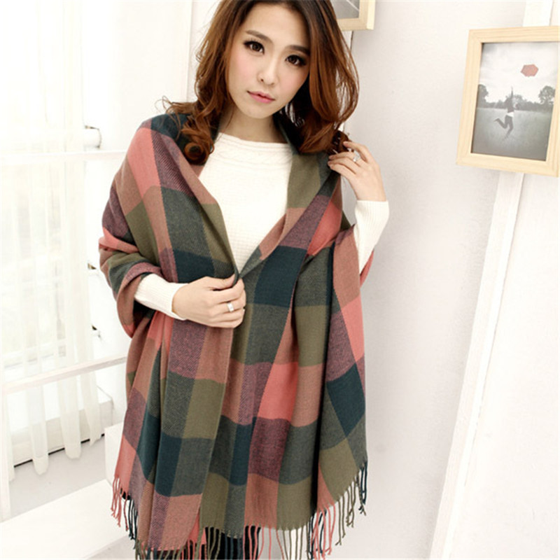 2019 Fashion Women's Winter Stole Plaid Scarves Ladies Cashmere Scarf Long Wool Pashmina Femme Foulard Female Winter Neck Scarf