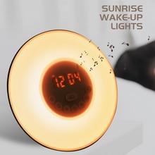 Uyandırma işığı çalar saat gündoğumu/gün batımı simülasyonu ışık FM radyo ile dijital saat gece lambası dokunmatik kontrol masa saatleri