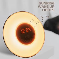 Wake Up Light Alarm Clock Sunrise/Sunset Simulation Luminous Digital Clock with FM Radio Night Light Touch Control Table Clocks