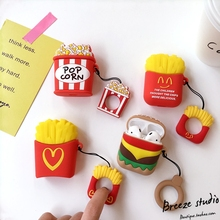 3D Food Hamburger Popcorn Fries Silicone Finger Ring Wireless Earphone Charging Case for AirPods 1 2 Bluetooth Headset Cover