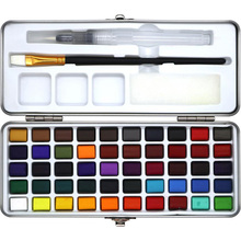 Portable Solid Watercolor Paint Set 50 Colors Metal Box Watercolor Pigment for Beginner Drawing Watercolor Paper Art Supplies