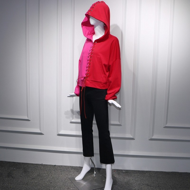 2020 Harajuku Women Two Piece Sets Lace Up Hooded Long Sleeve Tops And Ankle Length Pants Suits Fashion Hip Hop Ladies Outfits