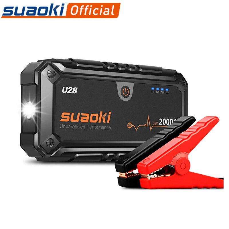 Suaoki U28 2000A Spitzen Jump Starter Pack Portable Power Bank LED Taschenlampe Smart Batterie Klemmen für 12V Auto Boot UNS EU AU Stecker