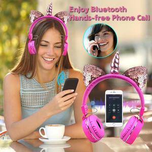Image 3 - Fone de ouvido sem fio de unicórnio para crianças, headset estéreo com bluetooth, estéreo, desenho animado, para adultos, meninos e meninas, presentes