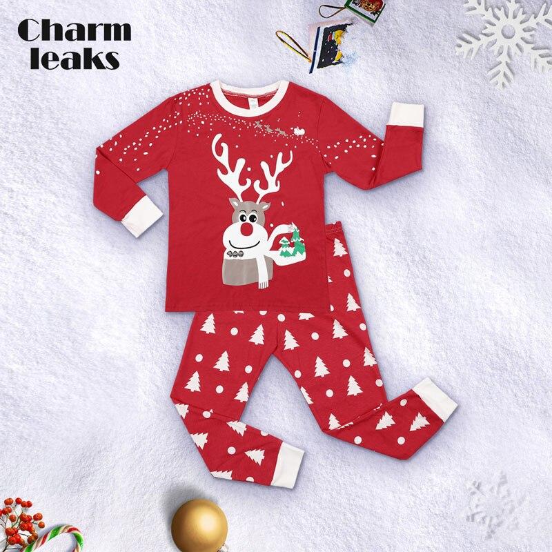 Charmleaks/Детский Рождественский пижамный комплект; Новинка; Рождественская одежда для сна; детская одежда для сна; комплект домашней одежды; зимняя одежда - Цвет: 8107