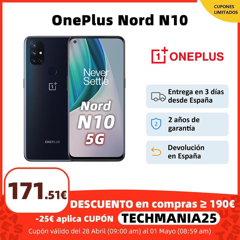 OnePlus Nord N10 5G, Versión global, 6GB RAM 128GB ROM móvil, 6.49'' 90Hz FHD+ Pantalla, 64MP Quad Camera, Warp Charge 30T NFC 1