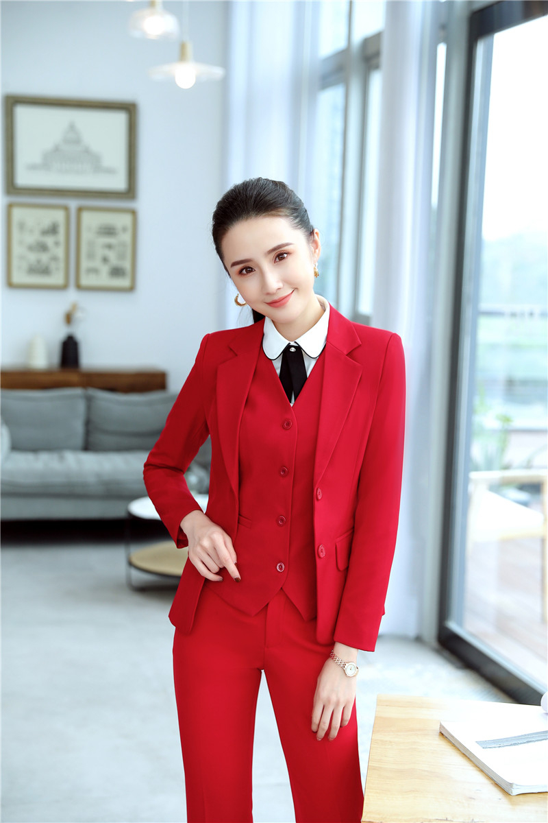 Formal Uniform Designs Pantsuits With 3 Piece Sets Jackets And Pants And Vest & Waistcoat For Ladies Office Professional Blazers
