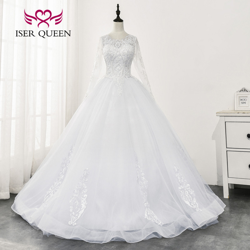 New Fashion O Neck Illusion Back Lace Wedding Dress 2020 Long Sleeves Embroidery With Beading Ball Gown Wedding Dresses WX0164