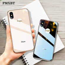 цены Fashion Ultra Thin Slim Luxury Plating Glass With Logo Case For Apple iPhone 7 8 Plus XS Max XR X Back Cover Edge Silicone Cases