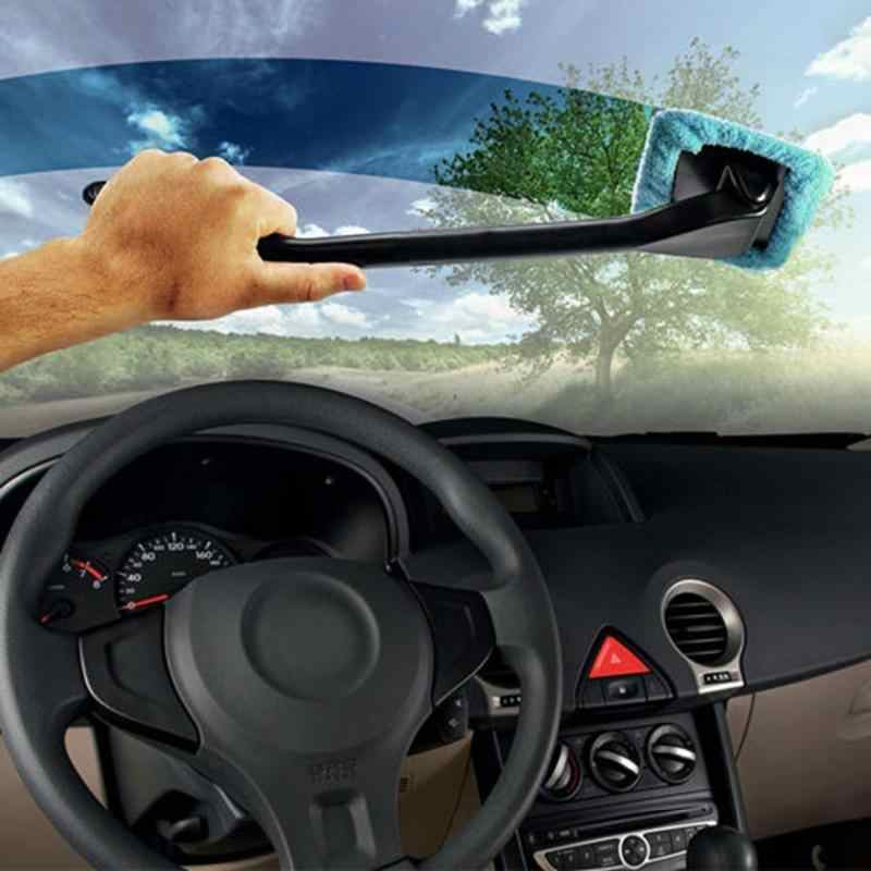 1 個マイクロファイバーカーディテール風防ブラシ着脱式ハンドル車のクリーニングブラシと布パッド洗車ディテールブラシ