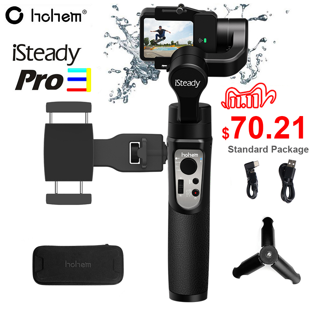Hohem iSteady Pro 3 Splash Proof 3-Axis Handheld Gimbal Stabilizer for GoPro Hero 8 7 6 DJI Osmo RX0 Action Camera Pro 2 Upgrade