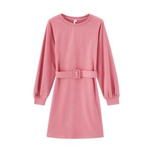 Image 5 - INMAN robe à manches longues, col ras du cou, robe littéraire à manches longues, avec ceinture, couleur Pure, printemps 2020 nouveauté