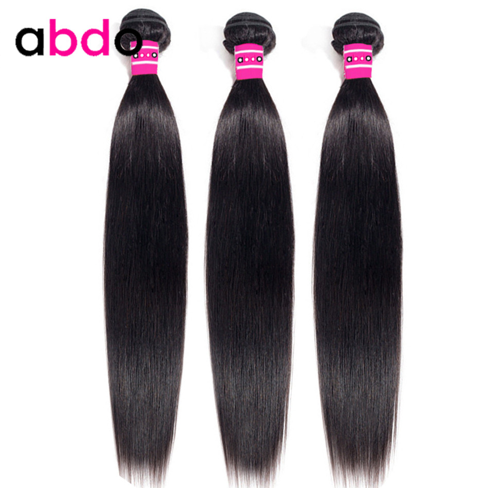 Straight Hair Bundles Human Hair Bundles Peruvian Non-Remy Hair Weaving Natural Color 26 28 30 Inch Bundles Hair Extension Abdo