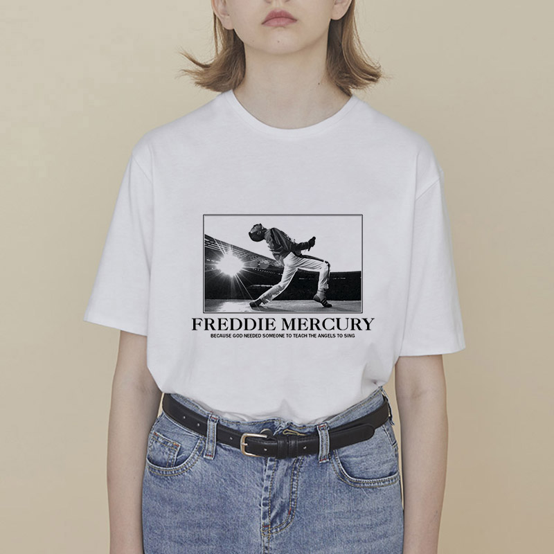 Showtly Freddie Mercury T Shirt The Queen Band Rock Women T-Shirt Because god needed someone to teach the angels to sing Tee Top