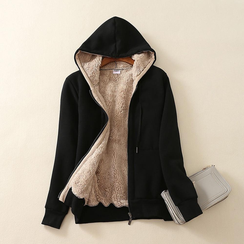Inverno feminino engrossar moletom com capuz sweatershirt casual casaco quente lã de pele macia forrado zíper com capuz jaqueta casual casaco @ 40