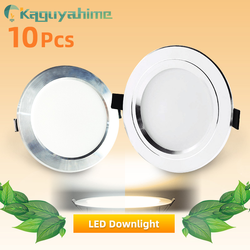 Kaguyahime 10Pcs LED Downlight 3W 5W 9W 15W 18W Ultra Thin Recessed Round Panel Light LED Aluminum Spots AC 110V 220V Warm White