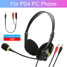 цена на Computer Gaming Headset For PS4 PC Gamer Wired Headphone With Microphone Stereo Bass Earphone USB Jack Cascos Head Phone