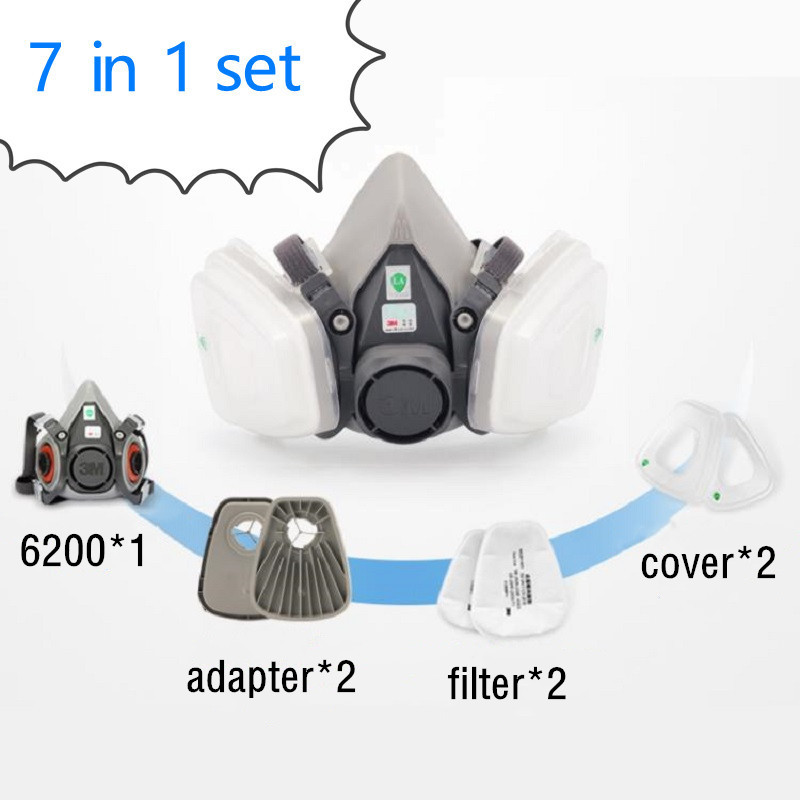 7 In 1 3M 6200 Dust Mask With Adapter 603 Protective Respirator Dust-proof Particle PM2.5 Filters Labor Painting Spraying Mask