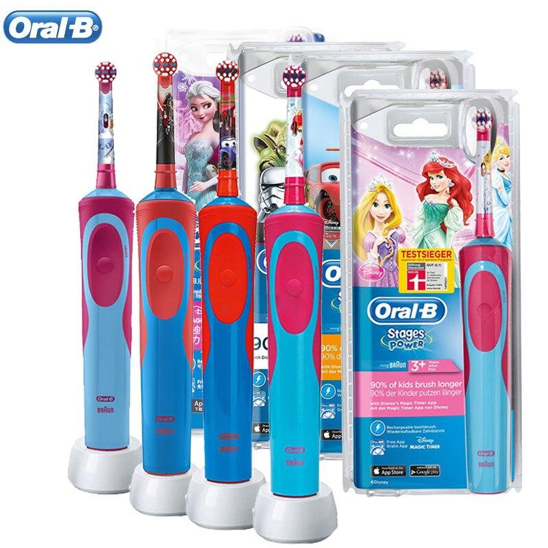 Детская электрическая зубная щетка Oral B 2D перезаряжаемая Индуктивная Водонепроницаемая вращающаяся зубная щетка для чистки зубов и отбели...