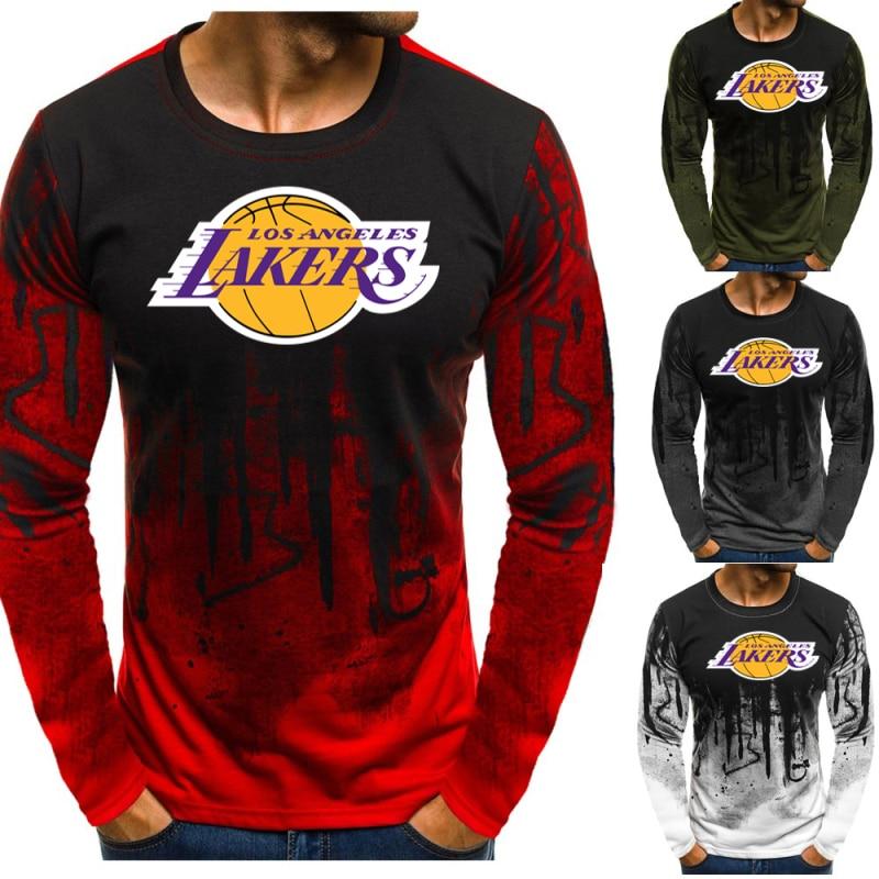 Hot Sale Fitness  Long Sleeve  Men Bodybuilding Training Long Sleeve 3D NBA Los Angeles Lakers Long Sleeve Motion Tops Tees